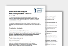 Thumbnail of Standards relating to Return to practice courses