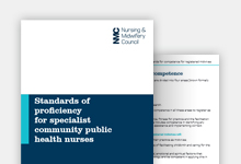 Standards of proficiency for specialist community public health nurses publication cover