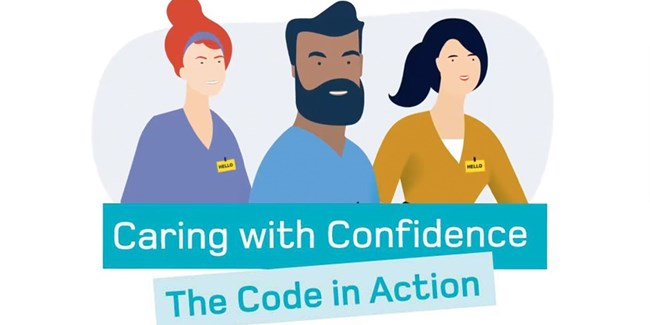 Illustration of a female midwife, male nurse and female nursing associate who are all smiling. The words caring with confidence: The code in action is written below them.